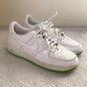 White Air Force 1 with lime green sole and details
